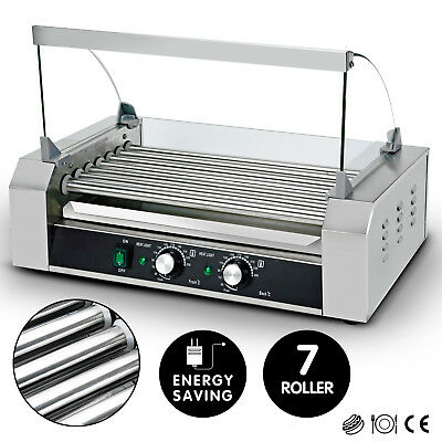 New Commercial 18 Hot Dog 7 Roller Grill Stainless Steel Cooker Machine w/Cover