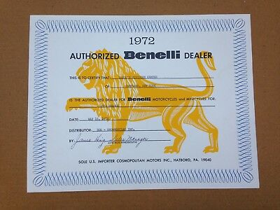 Vintage Authorized Benelli Motorcycle Dealer Certificate,rongo's Minibike Center