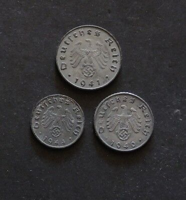 WW11 German 10,5, &1 Pfennig Coins.