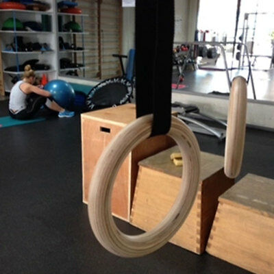 1 Pair Wooden Exercise Home Rhythmic Gymnastic Rings With Long Buckles Straps