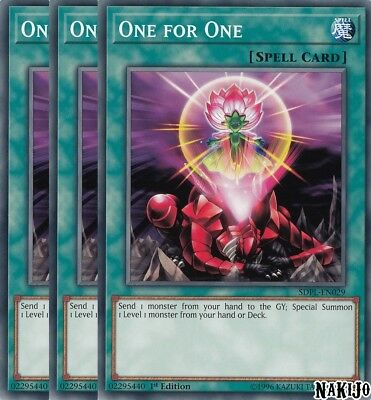 Yugioh - 3x One for One SDPL-EN029 Common - 1st Ed - NM/M