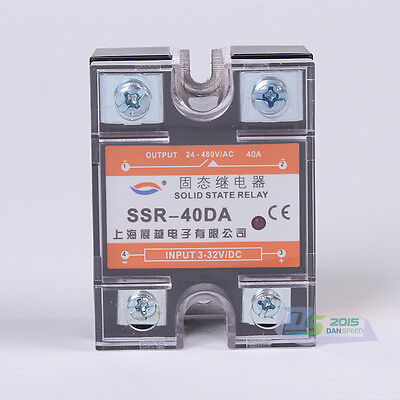 Single Phase SSR Solid State Relay DC-AC AC 3-32V to 24-480V 40A High Quality