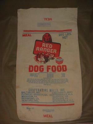 Rare Vintage Red Ranger Dog Food Canvas Coop Mills Pa Va Al 100Lb Corn Feed Sack