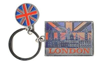 London Key Ring Union Jack Flag Disc Souvenir Gift Scenes Collage Montage UK GB