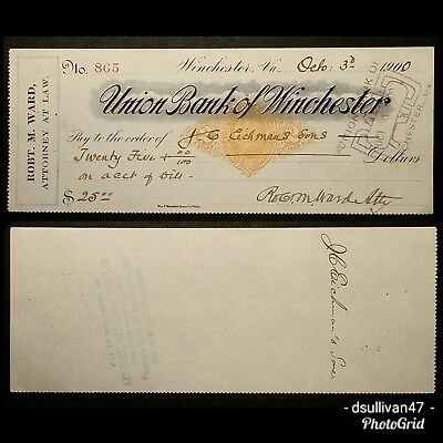 Union Bank of Winchester, Virginia Check Oct. 3, 1900
