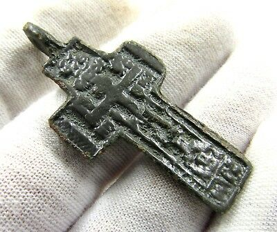 Authentic Post Medieval Bronze Cross Pendant - Wearable - E847