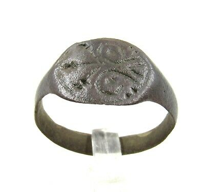 Authentic Medieval Viking Era Bronze Ring W/ Runic Decoration - Wearable - E854