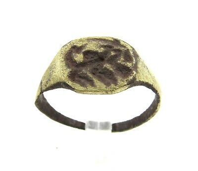 Authentic Medieval Viking Era Ring W/ Dragon  - Wearable - E703