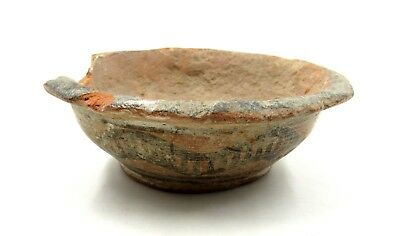 Authentic Ancient Indus Valley Terracotta Bowl W/ Snake - L954