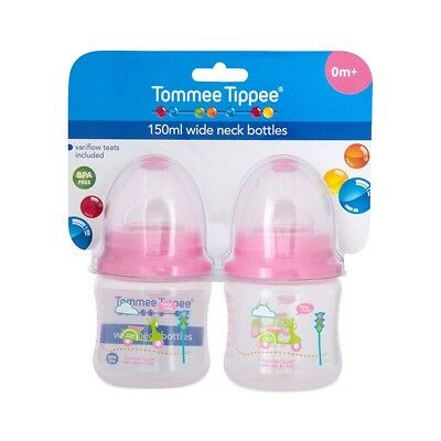 TOMMEE TIPPEE Wide Neck Bottle With Variflow Teat 150ml 2 pack