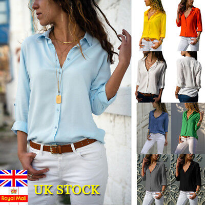 UK Women Long Sleeve Blouse Loose Tops Ladies V Neck Office Work Shirt Size 6-18