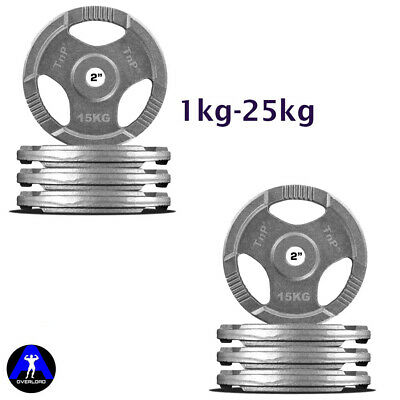Olympic Weight Plates Rubber Coated Cast Iron Weights Plate Set 1.25kg 2.5kg 5kg 10kg 15kg 20kg 25kg TriGrip Disc Tri Grip Radial TnP Accessories