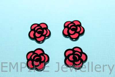 4 x Red & Black Rose Resin Flatback 14x14mm Cabochon Cameo Flat Flower Retro