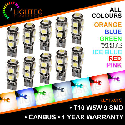 T10 Car Bulbs Led Error Free Canbus 9 Smd Pure Hid Xenon W5W 501 Side Light Bulb