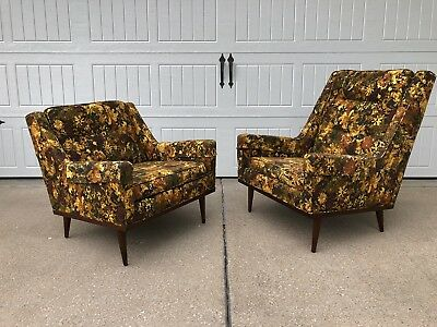 His and Her Milo Baughman Articulate Lounge Chairs; Thayer Coggin, Mid Century