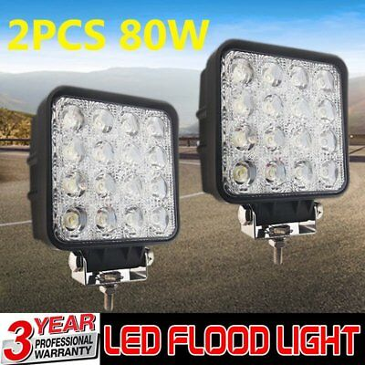 2x Square 80W LED Work Light Flood Lamp Offroad Tractor Truck 4WD SUV 12V 24V