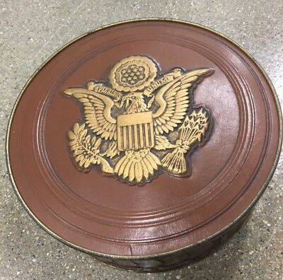 Vintage Smith Crafted Chicago Embossed Fruitcake Cookie Tin Presidents Eagle