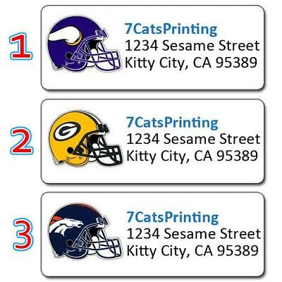 30 ANY TEAM NFL Return Address Labels Fantasy Football Party League Buy 3, Get 1