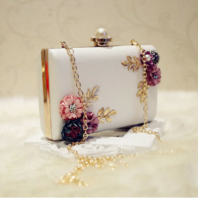 Fashion Women Leather Evening Bag Dinner Party Lady Wedding Flower Clutch P D9R9