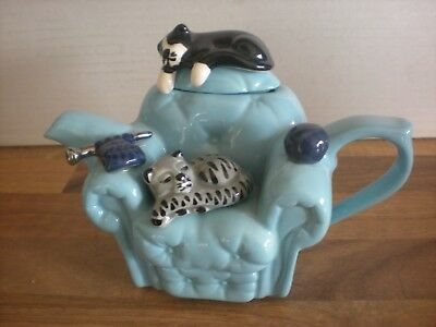 Small  - Swineside Teapottery  Teapot - Cats On A Chair