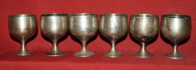 Vintage set of 6 small silver plated goblets