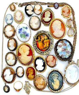 Vintage Cameo Lot Carved Shell Brooch Pendant Sterling Silver 28 Pc GF Victorian
