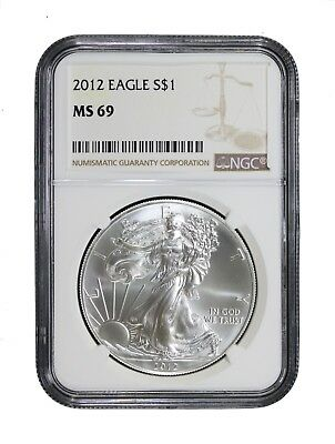 2012 Silver Eagle NGC MS-69 Certified Slabbed Graded Brilliant Uncirculated Coin