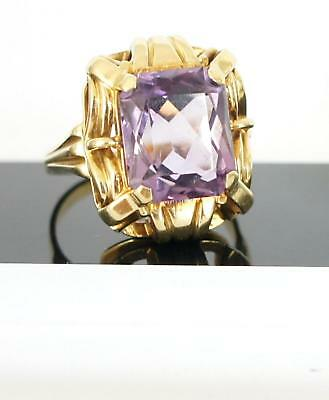 Exclusiver antiker Ring aus 585/000 Gelbgold mit grossem Amethyst  A705