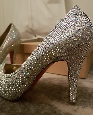 Sparkly Silver Crystal Diamonte Wedding Shoes Size 38