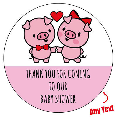 48 x Personalised Baby Shower cute pink PIG PIGGY Stickers labels Party bag 90