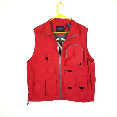 Nautica Mens Large Fly Fishing Vest - External Pockets - Mesh Lined - Red
