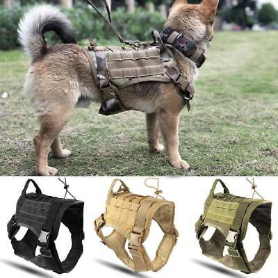 Police K9 Tactical Training Dog Harness Military Adjustable Molle Nylon Vest