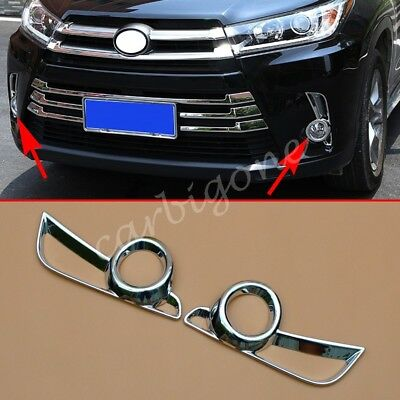 Chrome Front Fog Light Cover Trim For Toyota Highlander 2017-2018 Accessories