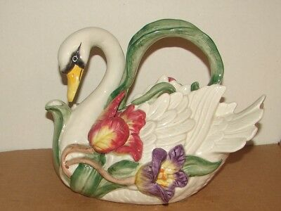LARGE 38 Oz.. FITZ AND FLOYD SWAN TULIPS TEAPOT