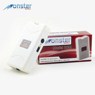 "Monster Mini Stun Gun Max Voltage With Led Flashlight In White Color ""see Disc"""