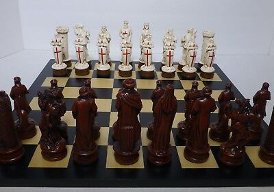 "MASSIVE CRUSADERS CHESS MEN - BOARD NOT INCLUDED w/ SET. K = 4.5"" (rosewood) 860"