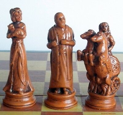 TALL EGYPTIAN CHESS MEN - CLASH OF DYNASTIES - HAND MADE SET (maple) 604