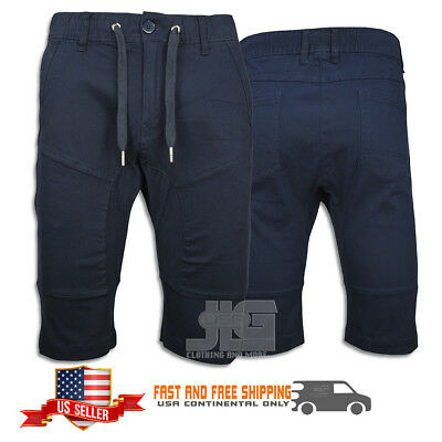 Shorts Twill Jogger Mens Relaxed Cotton Athletic Sports Navy Casual Elastic NEW
