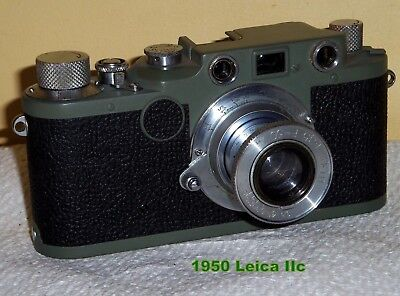 Military Green Leica IIc with 50mm lens  Nice Curtains & Working splendidly