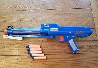 2006 NERF Star Wars Clone Trooper Dart Gun Blue Blaster Rifle Gun Laser Sight