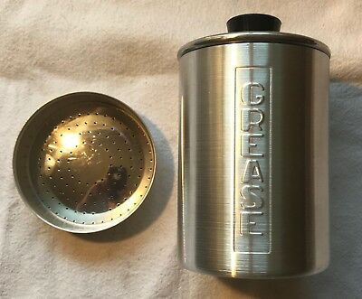 Vintage Brushed Aluminum Minty Grease Canister W/ Strainer