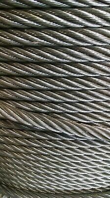 "5/8"" Bright Wire Rope Steel Cable IWRC 6x26 (100 Feet)"