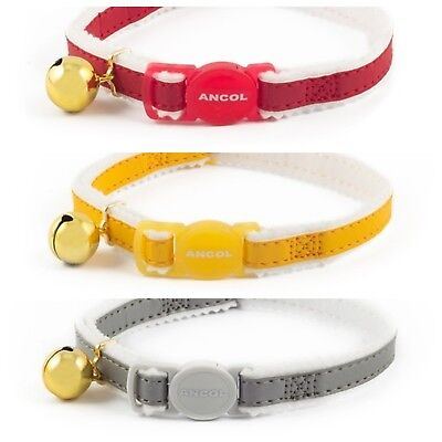 ANCOL REFLECTIVE FELT BACKED Cat Collar with or without Engraved ID Tag
