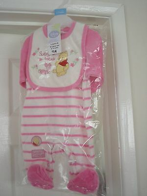 DISNEY GIRLS WINNIE THE POOH 2 PIECE OUTFIT 0-3 MONTHS UPTO 14.3lbs (6.5kg) BNWT