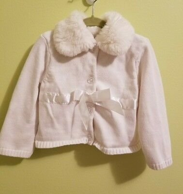 Starting Out Girls Knitted White Jacket Pullover Faux Fur Collar Size 24 months