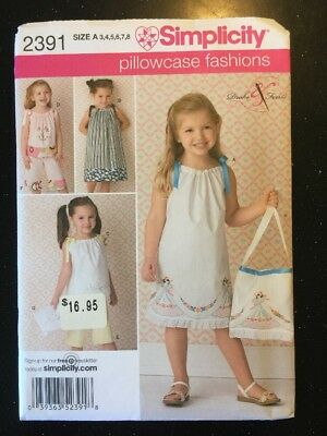 Simplicity 2391 Sewing Pattern Girls Pillowcase Dresses Sizes 3-8 New