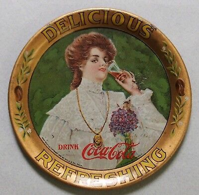 "1906 Coca Cola Advertising Tip Tray Titled ""junita"" Pretty Girl, Beautiful"