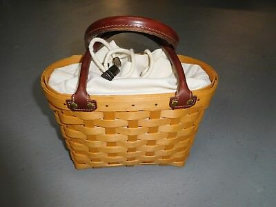 "2001 Longaberger Small ""Tote"" Basket ""Purse/Bag"" w/Canvas Insert & Leather Handl"
