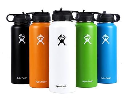 Hydro Flask Water Bottle Stainless Steel Insulated Wide Mouth Straw Lid Drinking