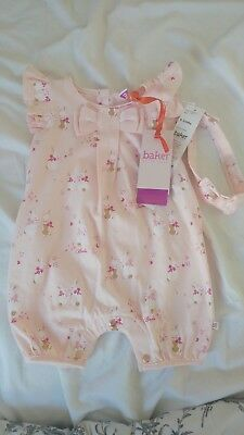 Ted Baker Baby Girl Pink Bunny Print Romper With Headband 0-3 Months